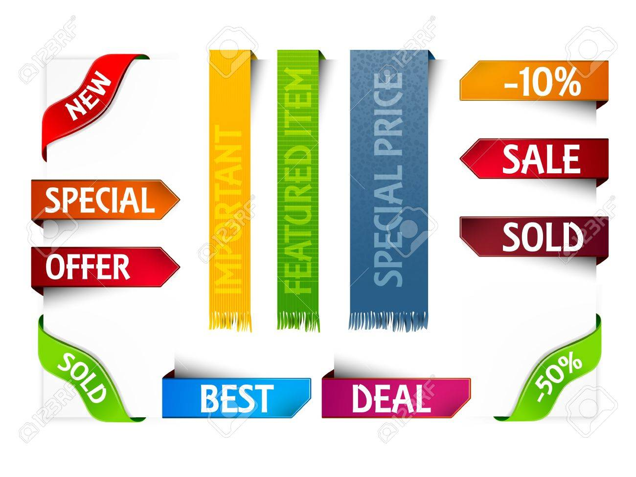 Set of Blank Tags  Labels of Different Colors Stock Vector - 15937757