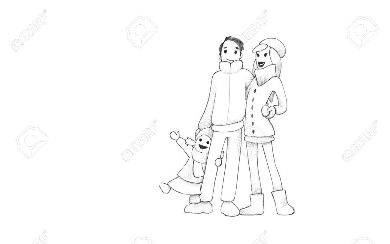 Pencil drawing of happy family having fun winter outdoors high