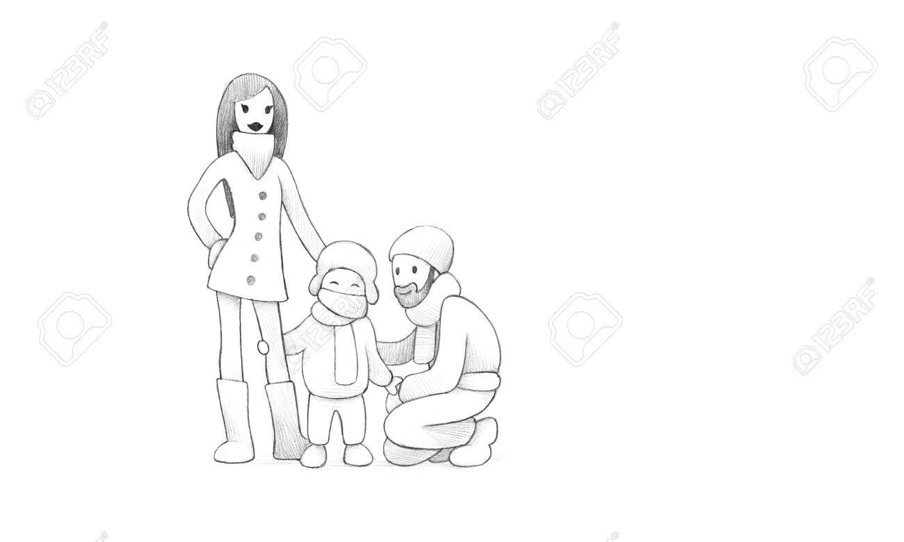 Pencil drawing of happy family celebrating new years eve together high resolution scan decent
