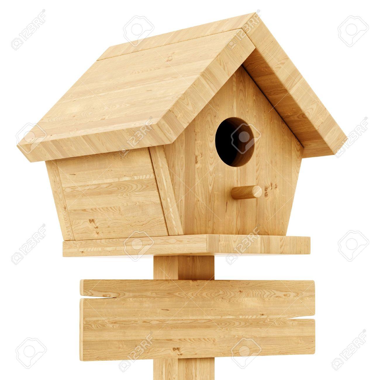 5964004ced345 Foto de archivo - Rinde de una casa para pájaros con un cartel de madera