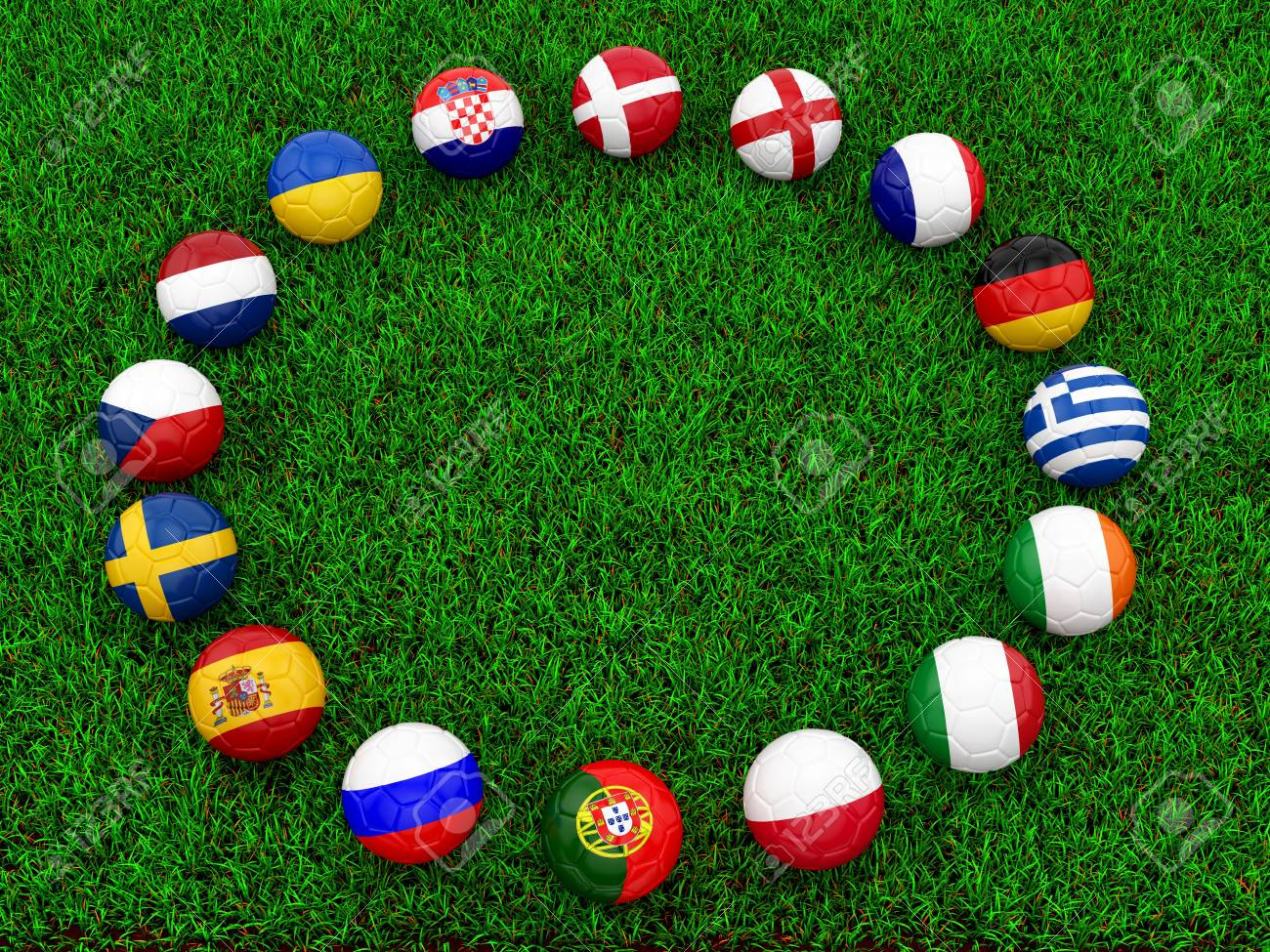 render of soccer balls on grass Stock Photo - 16955224