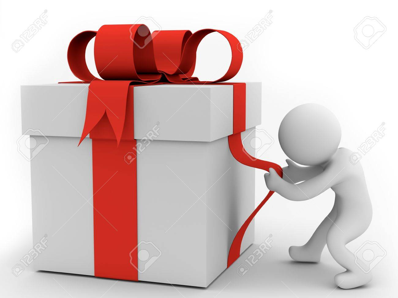 render of a human pulling big gift box stock photo picture and