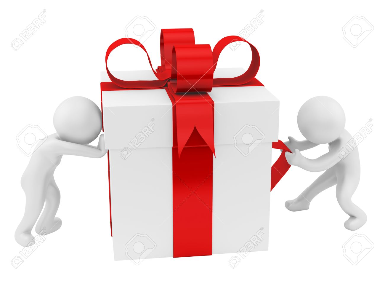 render of 2 men pushing pulling a big gift box isolated on white