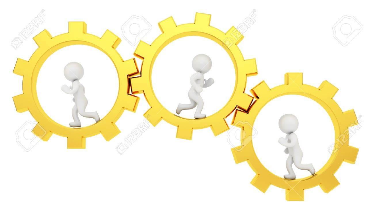 render of 3 human running inside gold gears Stock Photo - 16935895