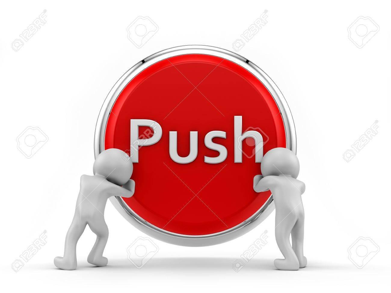 render of 2 human pushing big button Stock Photo - 16876319