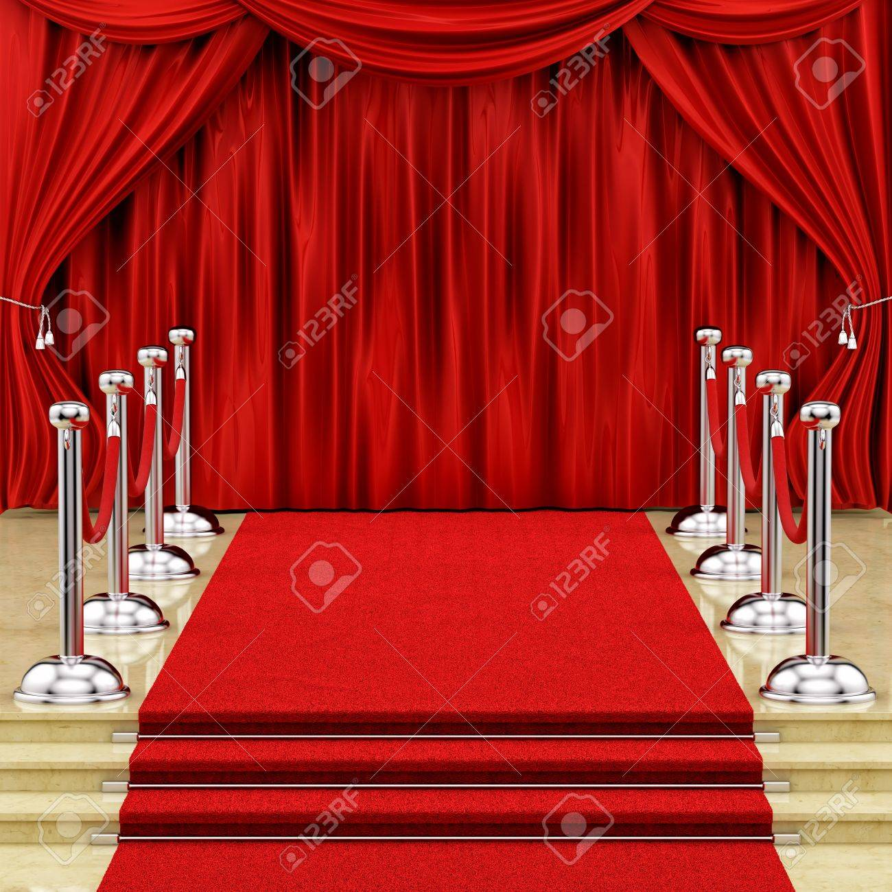render of a red carpet with silver stanchions and curtains Stock Photo - 16876556