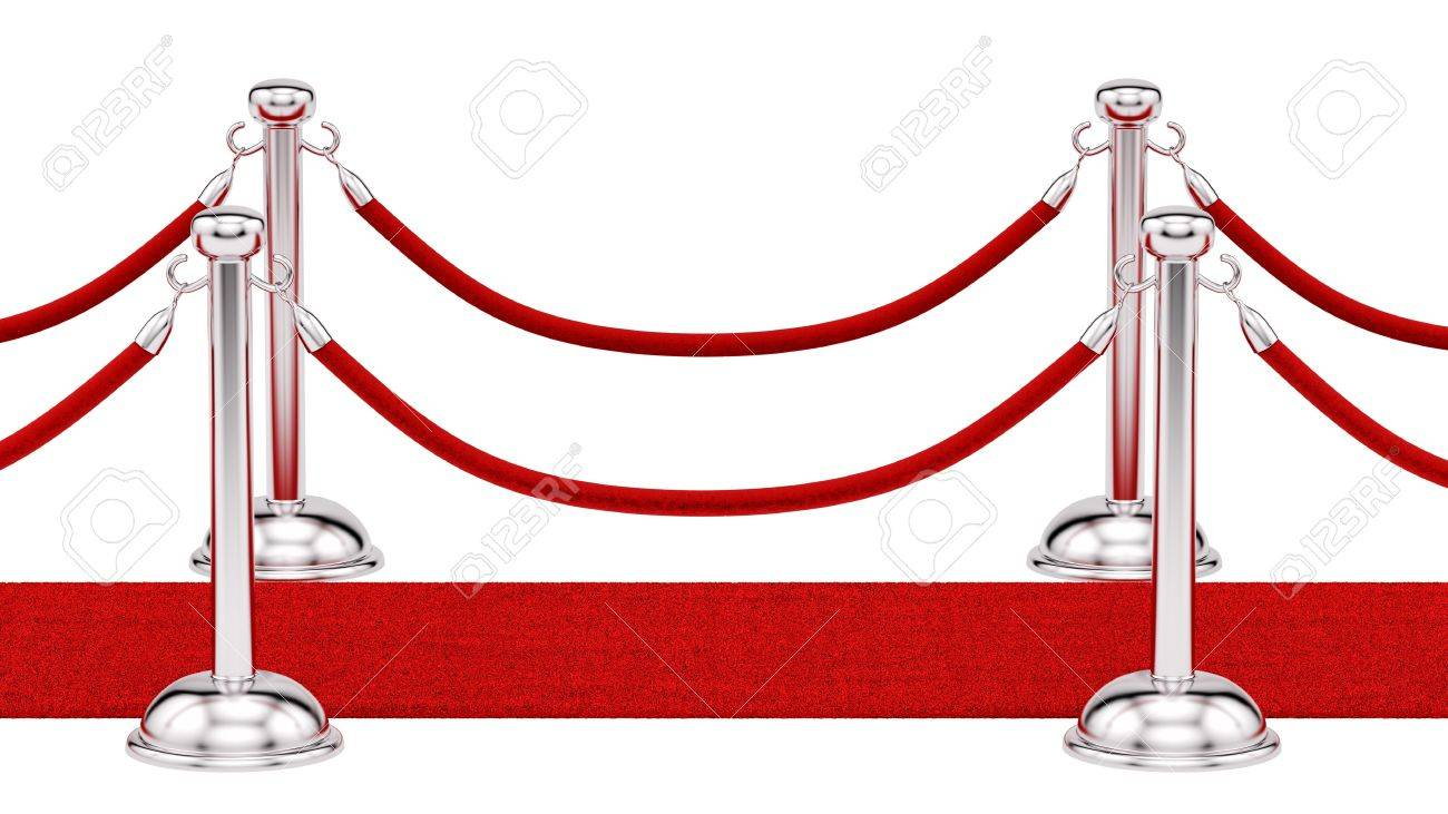 render of silver stanchions and a red carpet Stock Photo - 16876562