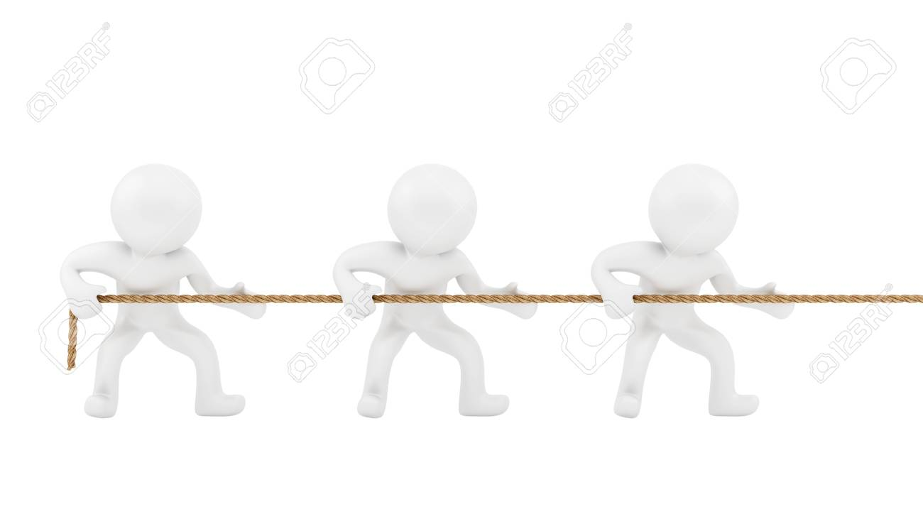render of 3 human pulling a rope with teamwork Stock Photo - 16876228