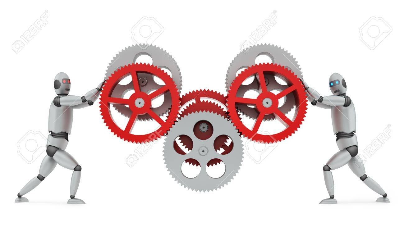 render of a two robots operating gears, isolated on white Stock Photo - 20013517