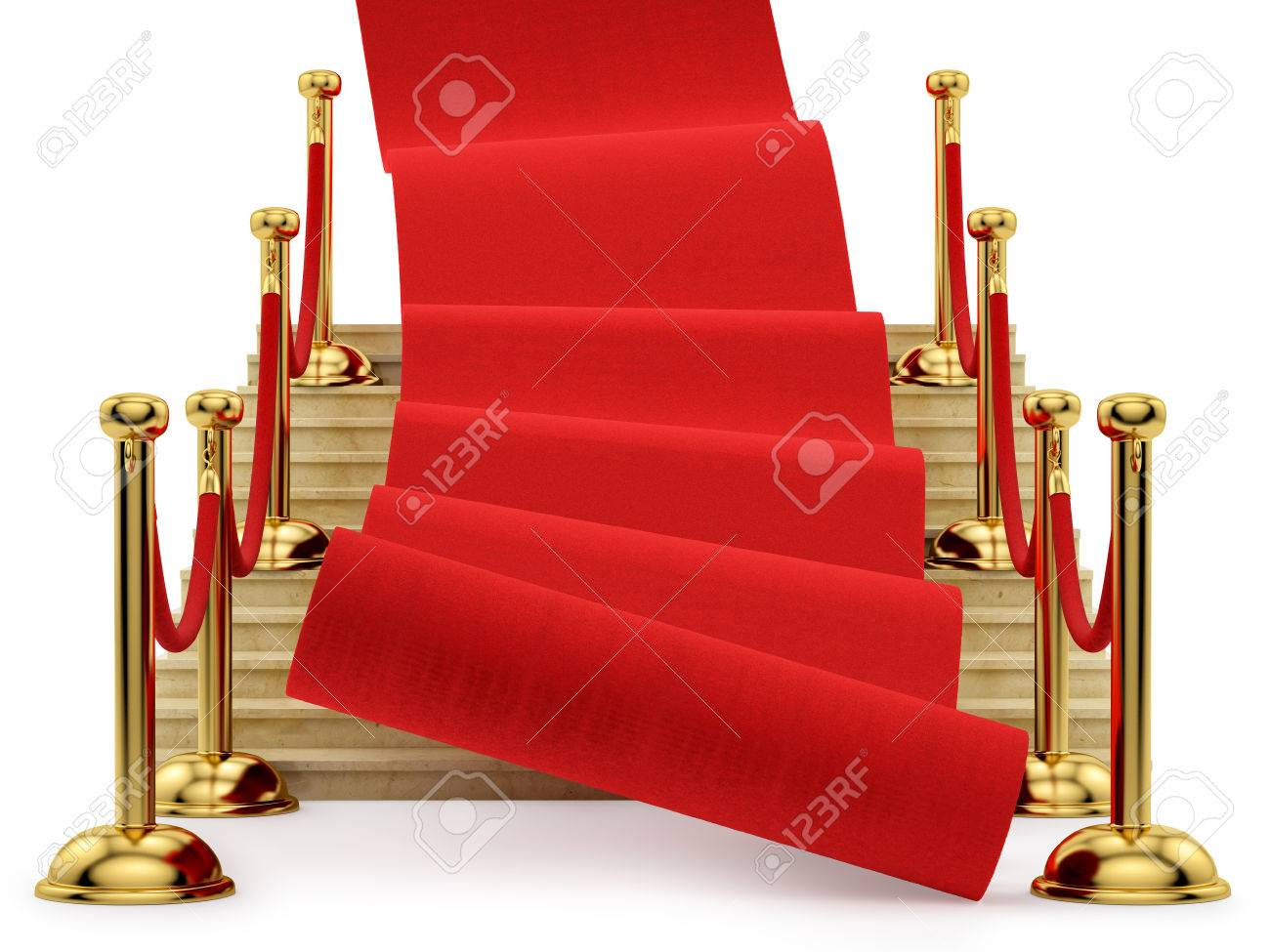 red carpet rolling down the stairs, isolated on white Stock Photo - 23367603