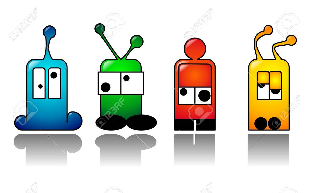 Funny characters with antenna on their head. Stock Photo - 4813215