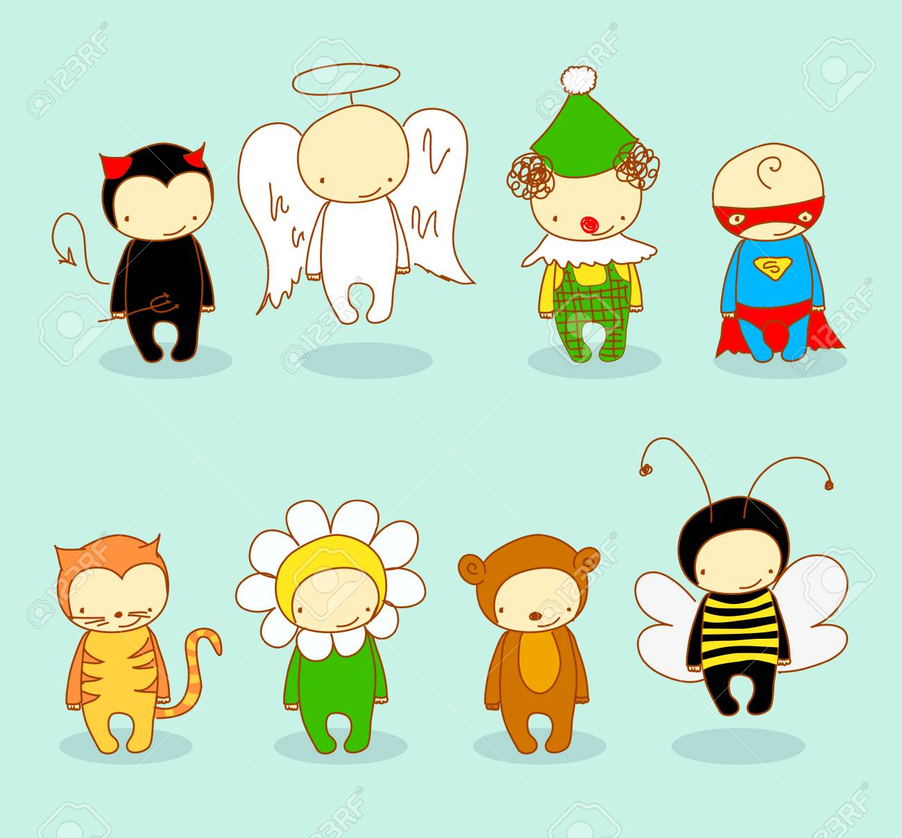 Cute kids in costume Stock Vector - 7936255