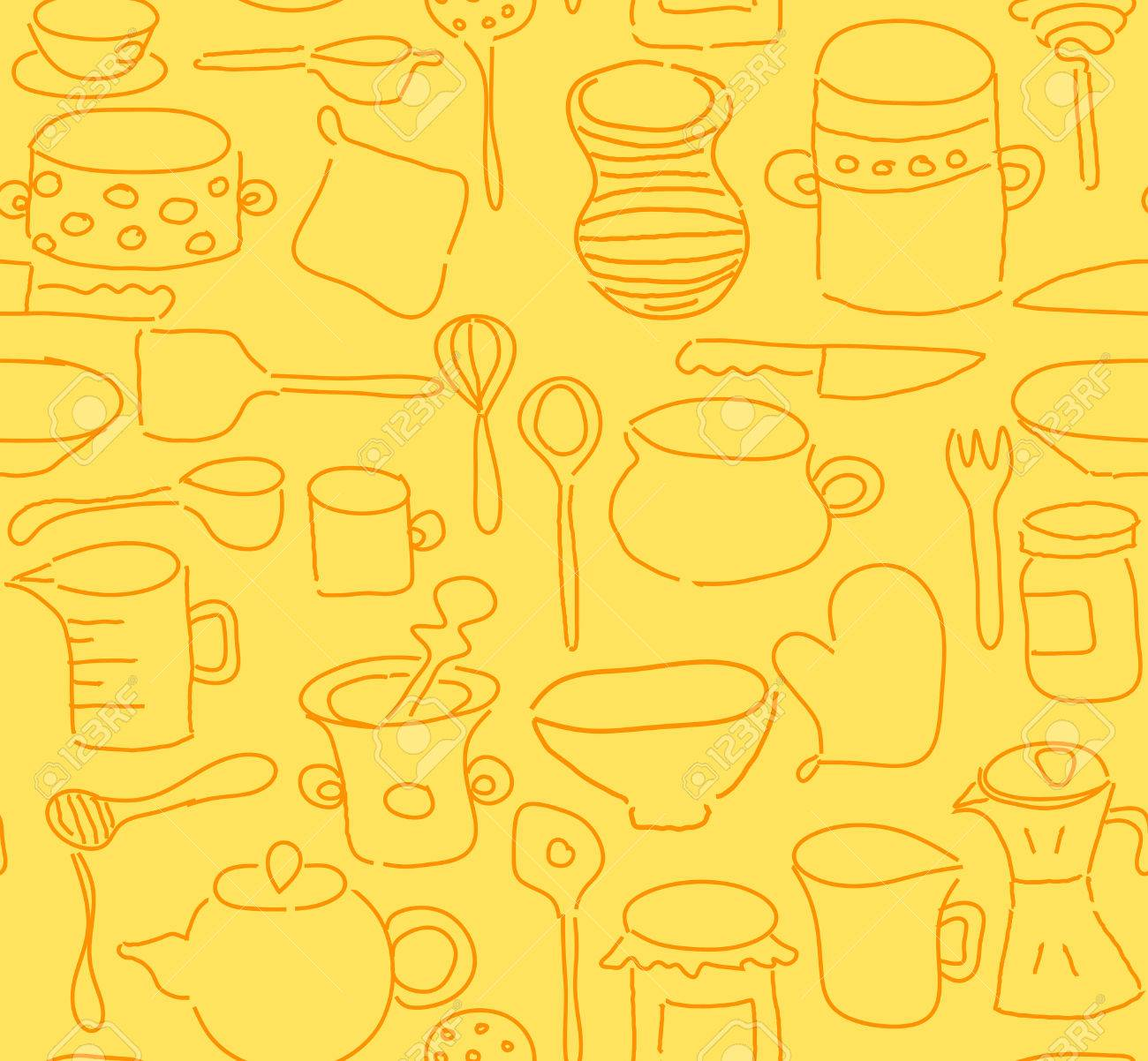 Seamless Kitchen Utensils Doodle Royalty Free Cliparts Vectors And