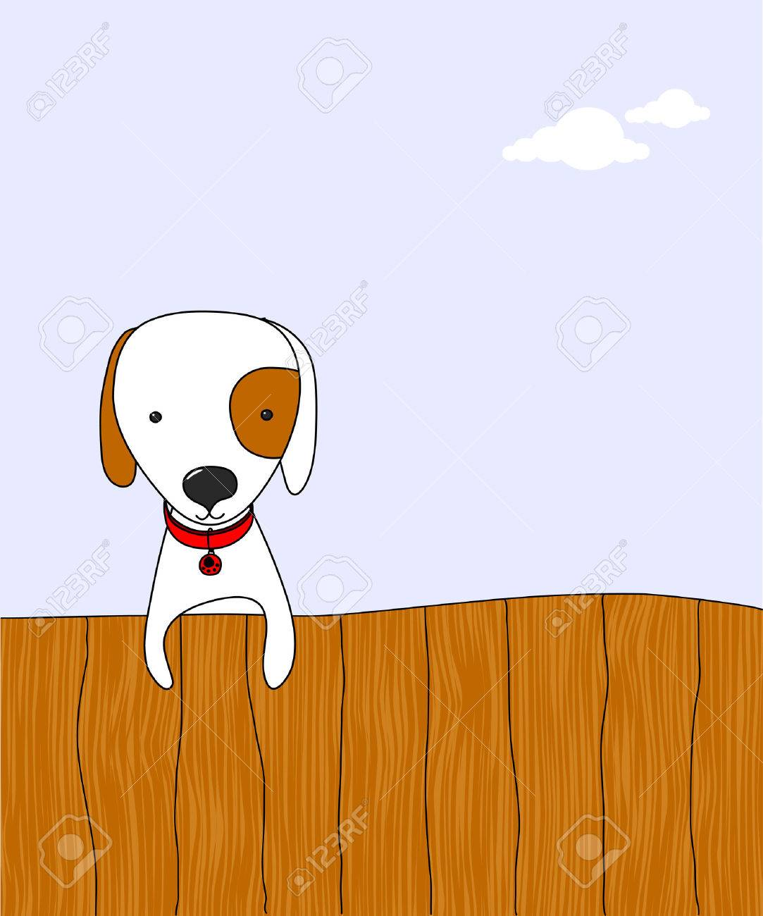 cartoon dog on a fence Stock Vector - 8432798