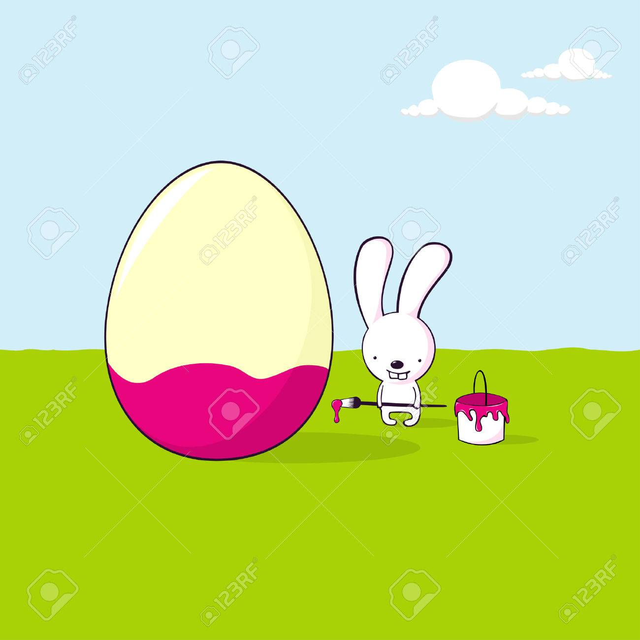 cute cartoon bunny painting an egg for Easter Stock Vector - 8639900