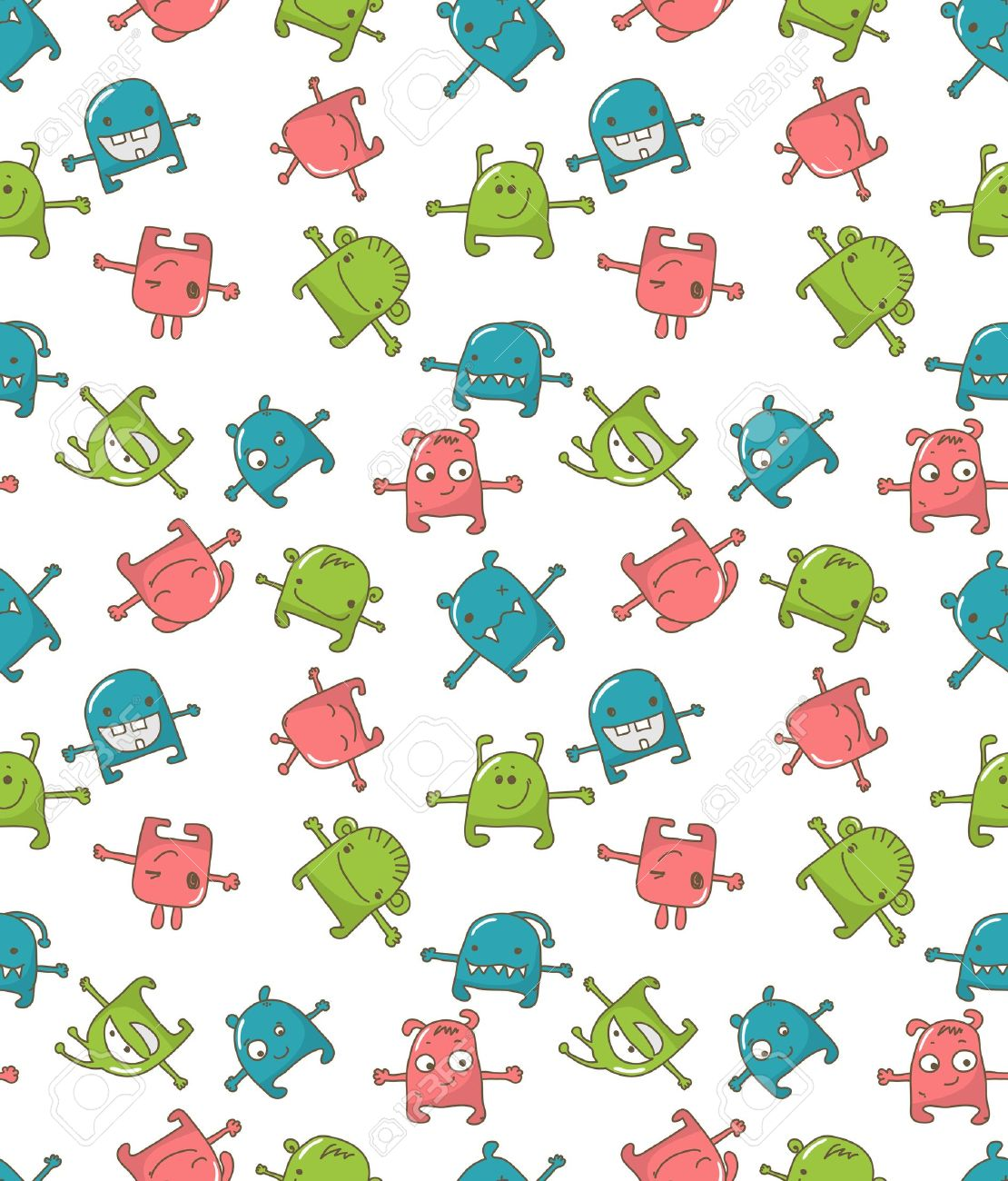 Seamless pattern with cute monsters Stock Vector - 9502505