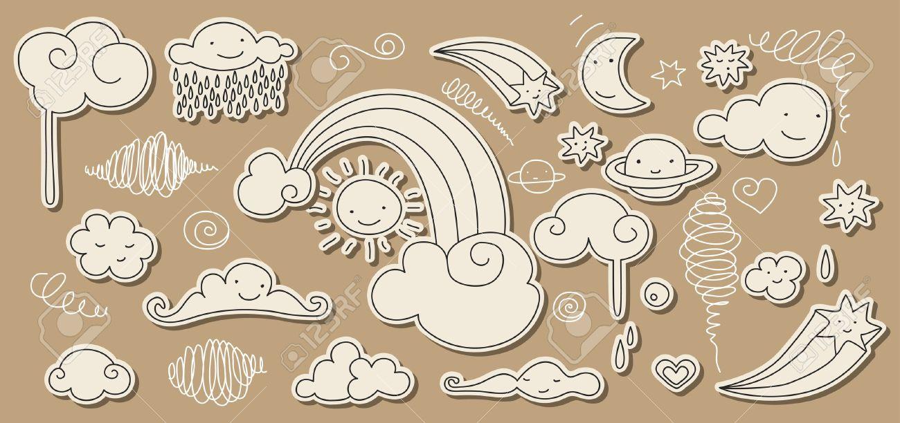 Cute doodle of sky elements: sun, moon, clouds, stars, rainbow. Stock Vector - 9679630