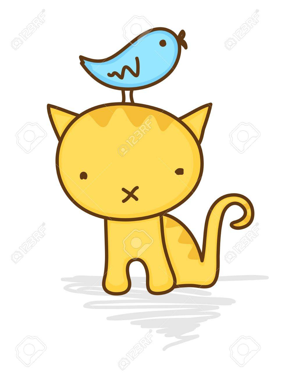 Cute illustration of a bird sitting on a cat's head Stock Vector - 9833599