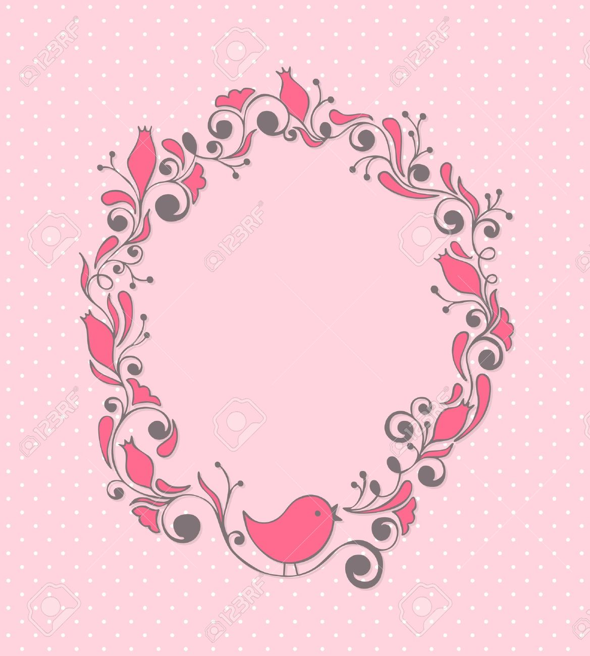 Cute girly floral frame with bird Stock Vector - 9833601