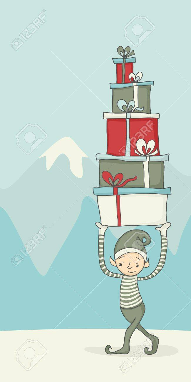Cartoon of an elf carrying gift boxes for Christmas Stock Vector - 10380559