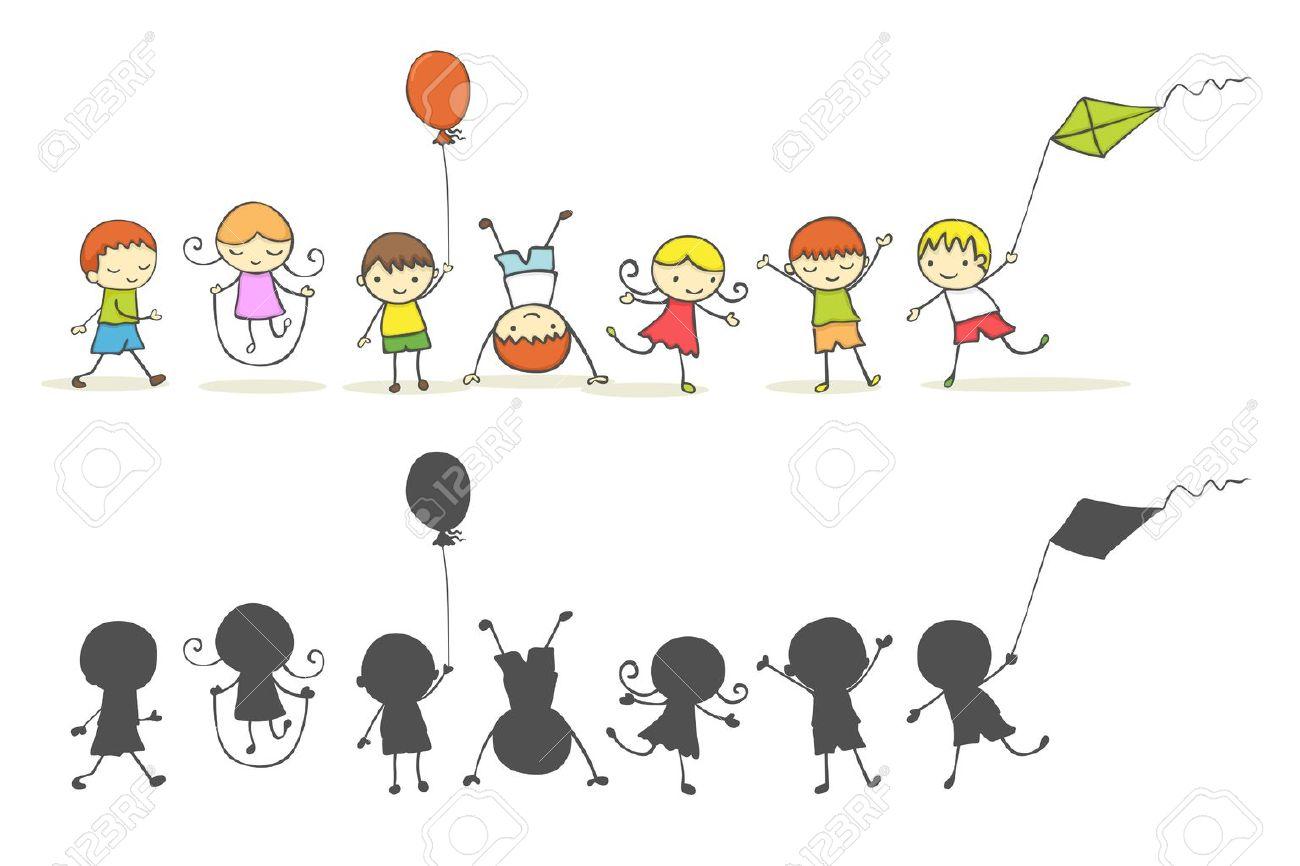 Cute cartoon kids playing. Stock Vector - 10483576