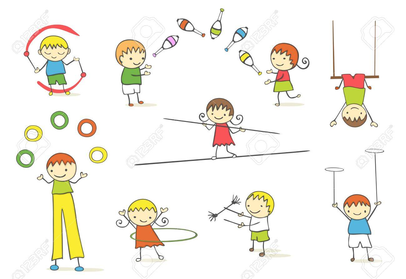 Juggling kids collection. Stock Vector - 10845434