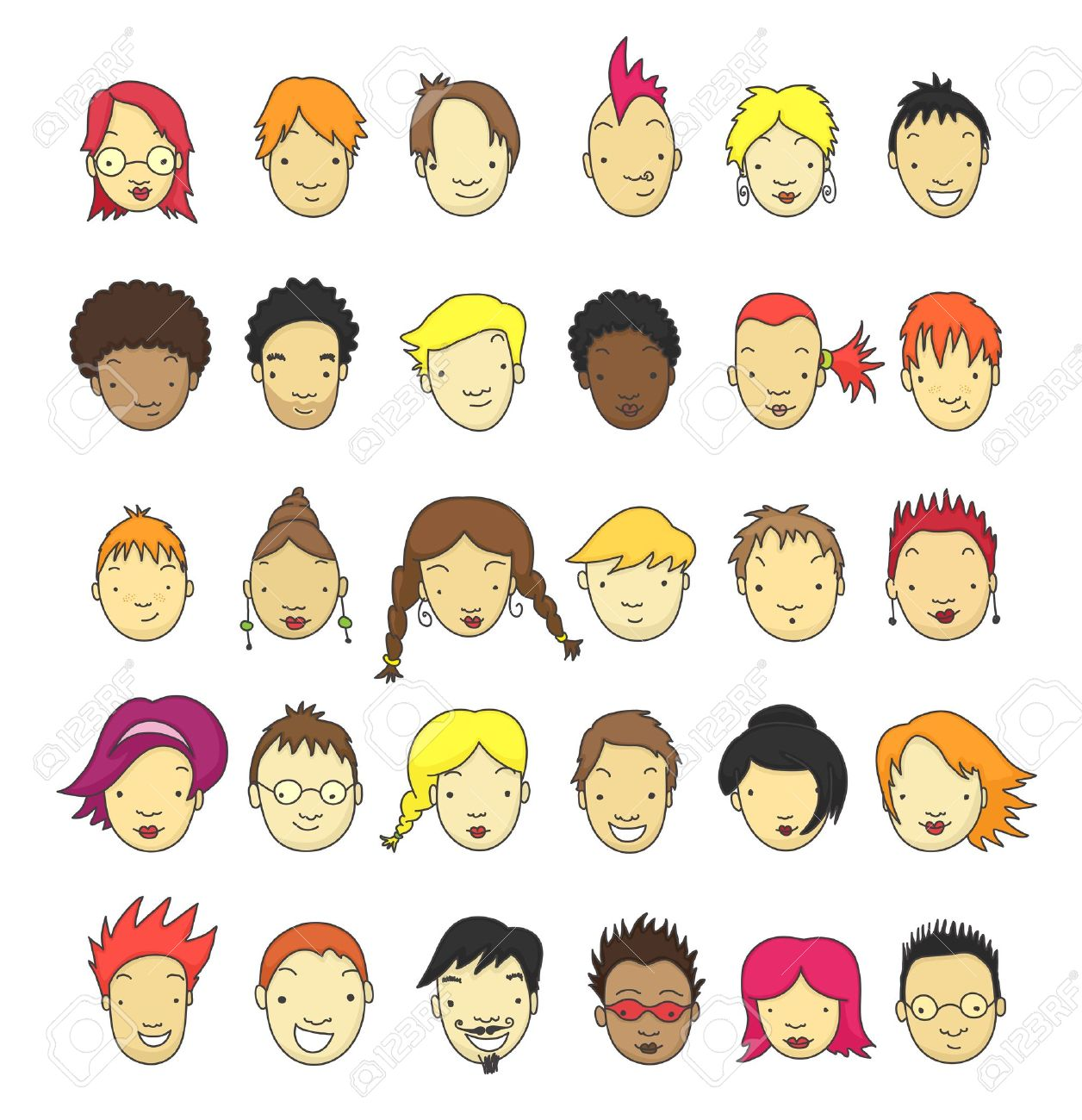 Set of 30 different cartoon faces for avatar. Stock Vector - 10957607
