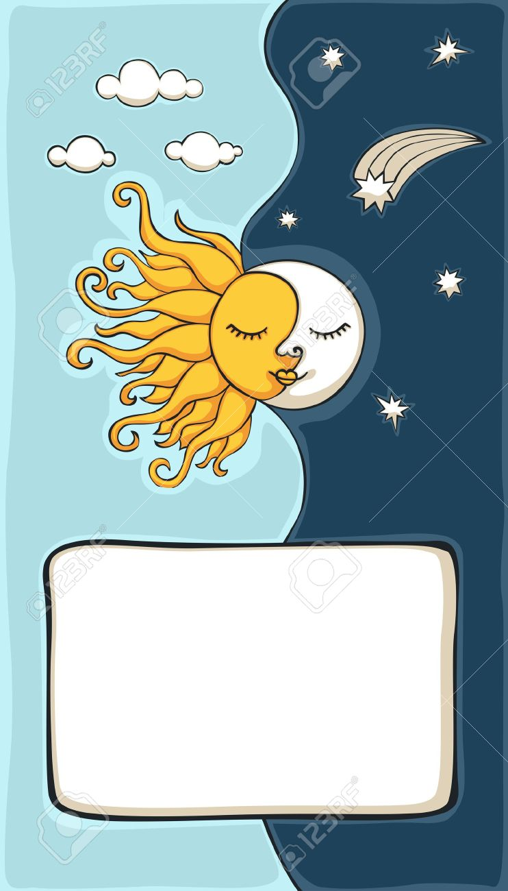 Sun and moon cartoon with copy-space Stock Vector - 11134240