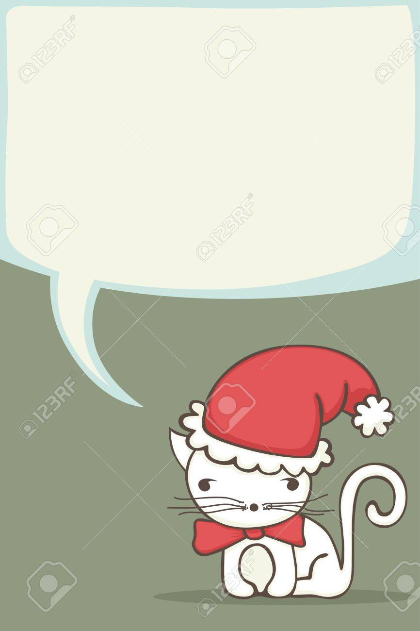 Christmas Card For Kids With Cartoon Cat Wearing A Santa Hat ...
