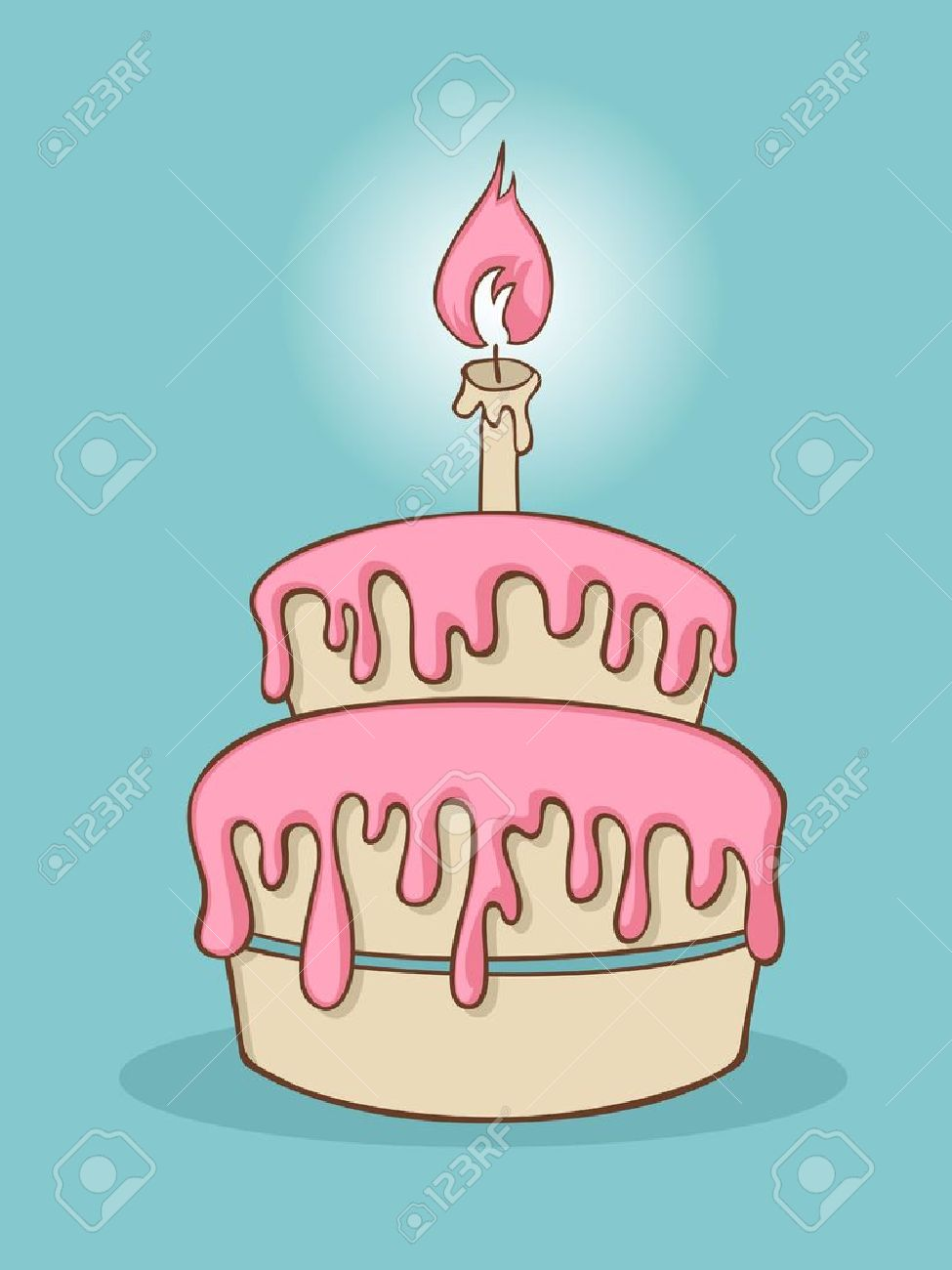 Cartoon Birthday Cake With One Candle Stock Vector