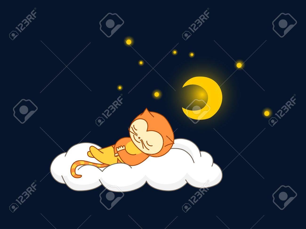 Cute kid in cat costume sleeping on a cloud Stock Vector - 11493627