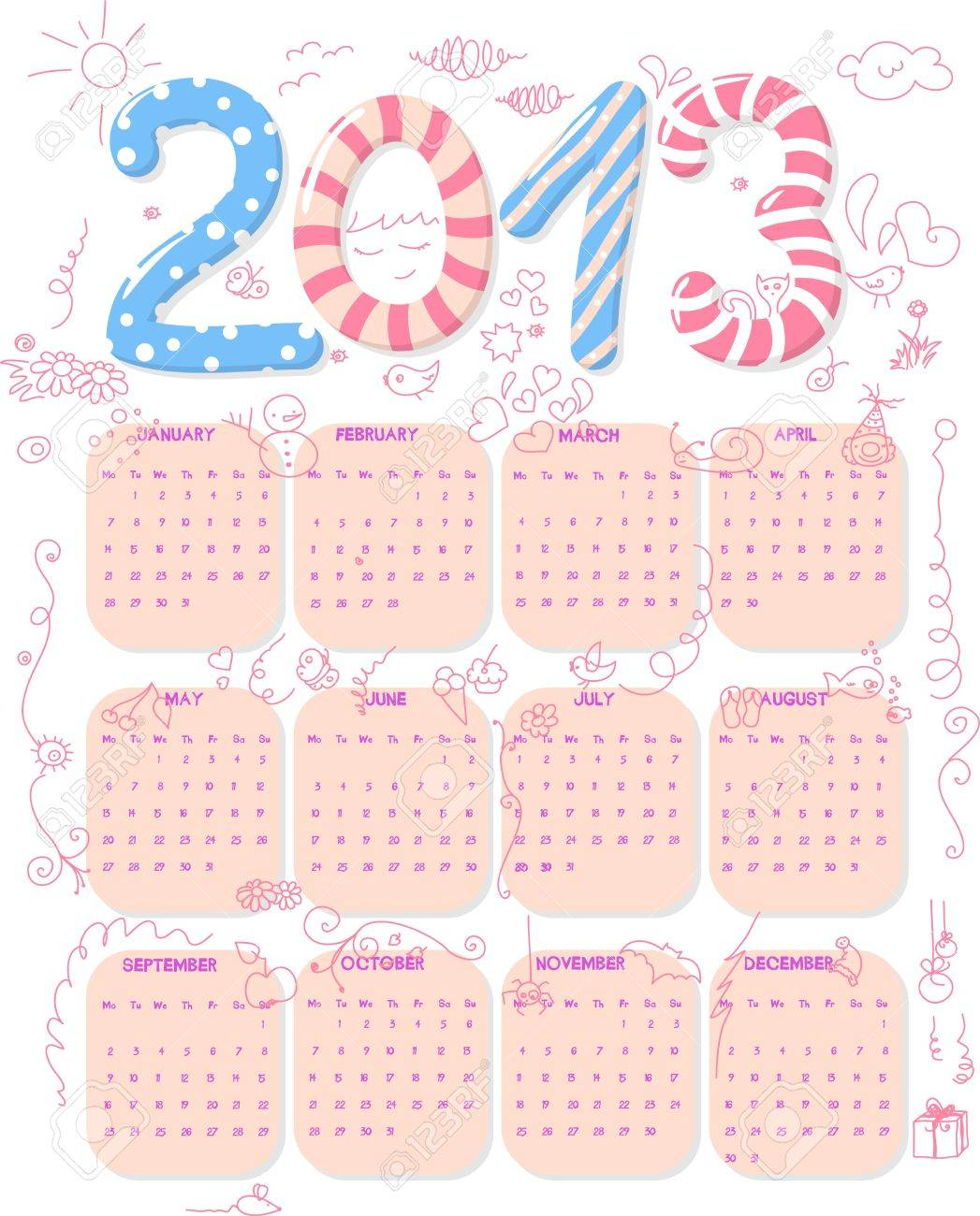 Calendar of year 2013 with cute childish doodle. Stock Vector - 12011075