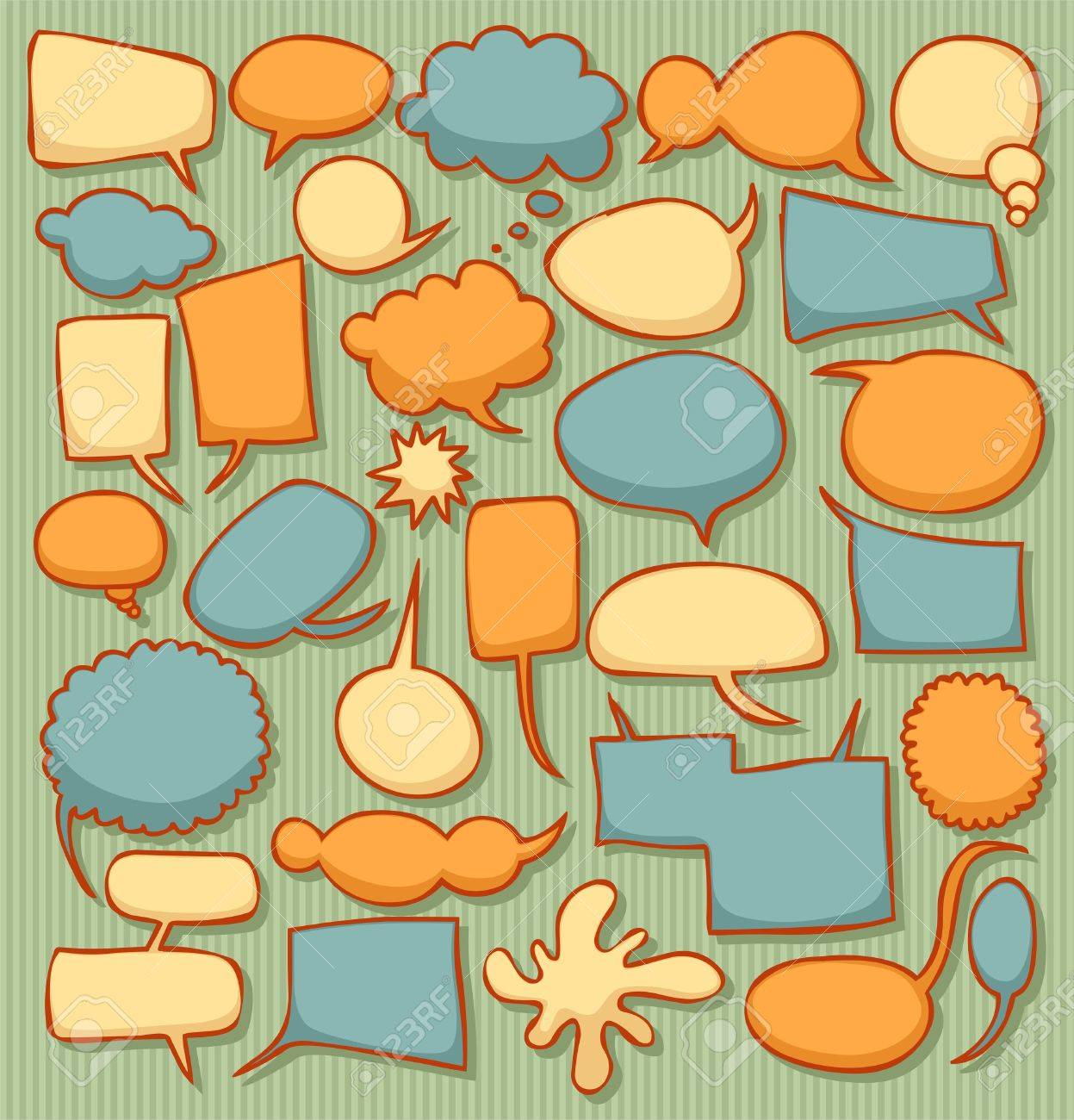 Colorful retro speech bubble collection Stock Vector - 12496667
