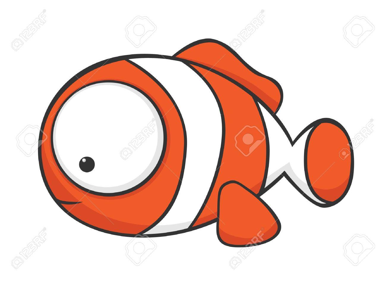 Cute Cartoon Clownfisch Mit Großen Augen Lizenzfrei Nutzbare ...