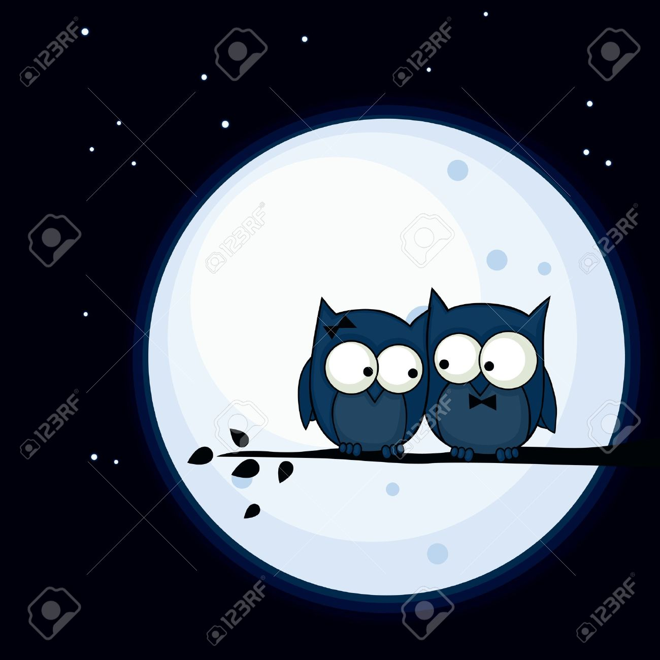 Valentine's Day card with cute owl couple sitting on a branch, with the moon in the background Stock Vector - 17481595