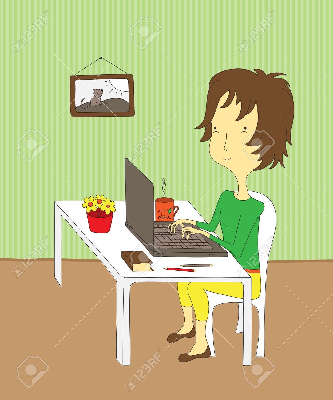 Cartoon girl sitting at her desk, working on a laptop. Stock Vector - 17844360