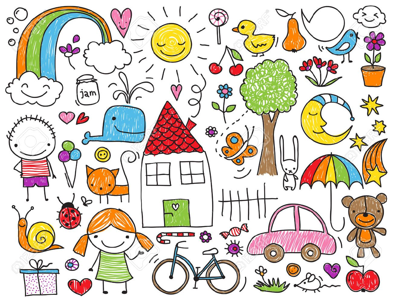 Collection of cute children's drawings of kids, animals, nature, objects - 29462393