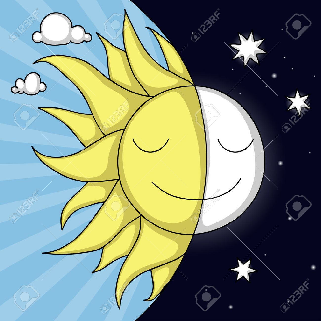 Cute Day And Night Illustration With Smiling Sun Moon Stock Vector