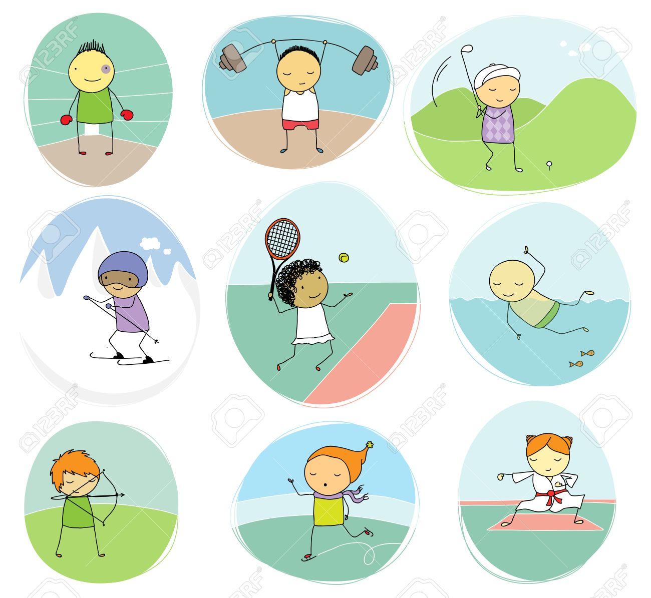 5fcb0d3af5aa7 Conjunto de la ilustración ingenua de los niños que juegan diferentes deportes  individuales Foto de archivo