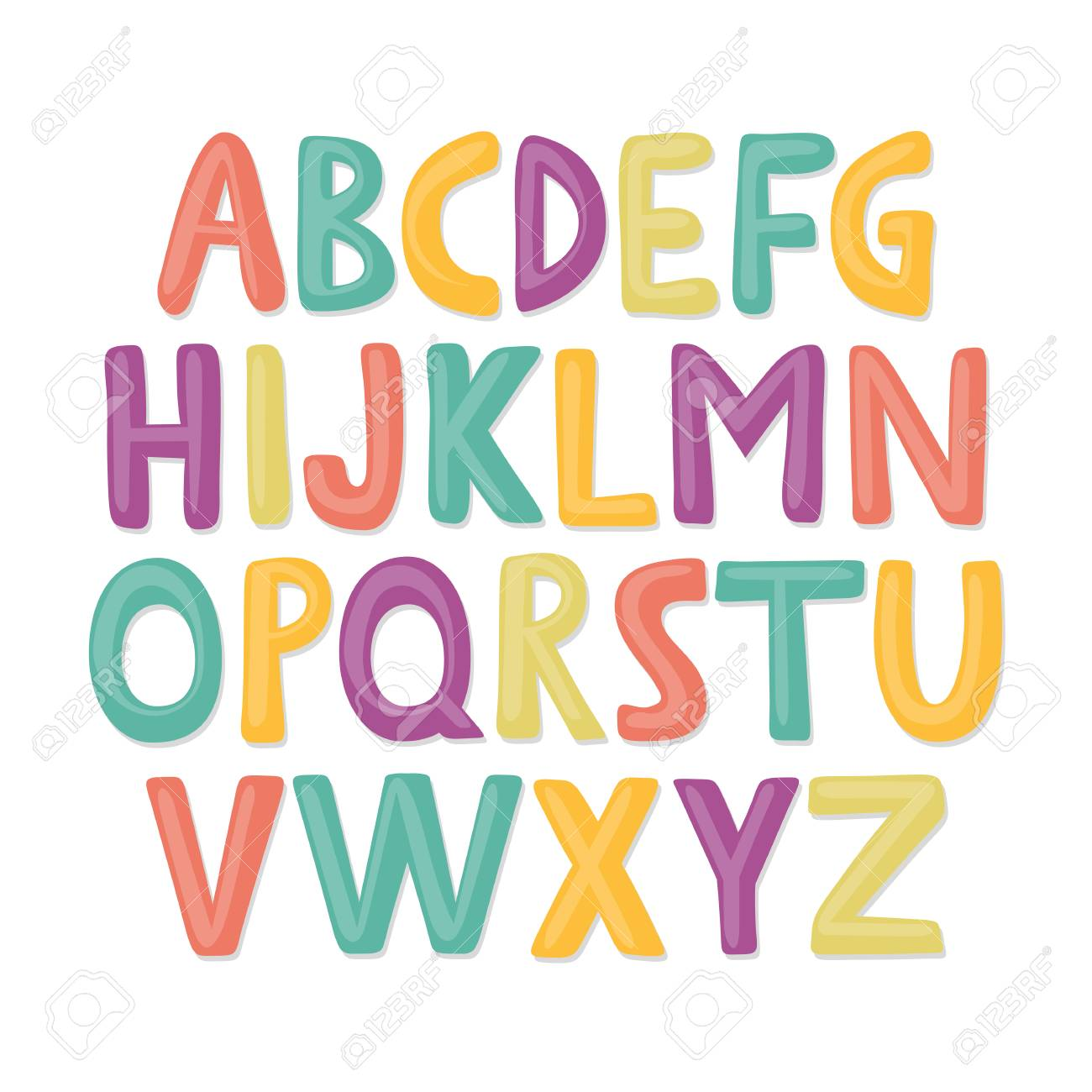 cute and colorful childish hand drawn english alphabet suited