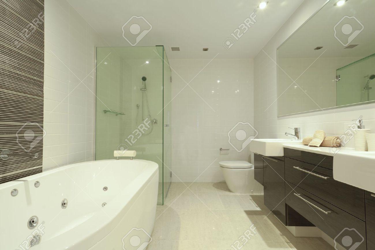 stilvolle twin badezimmer mit zwei waschbecken, spiegel, dusche, Hause ideen