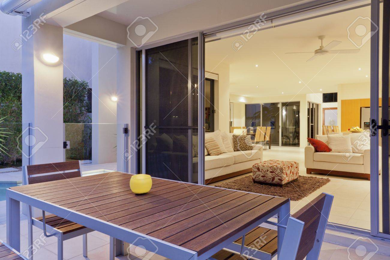 luxurious backyard patio and living room stock photo picture and