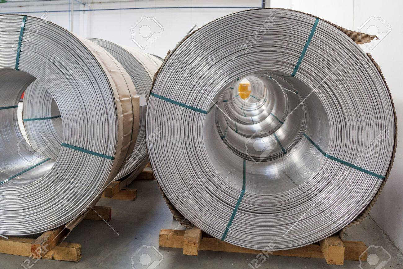Aluminium Wire Spools In Wire Stretching Factory Stock Photo ...