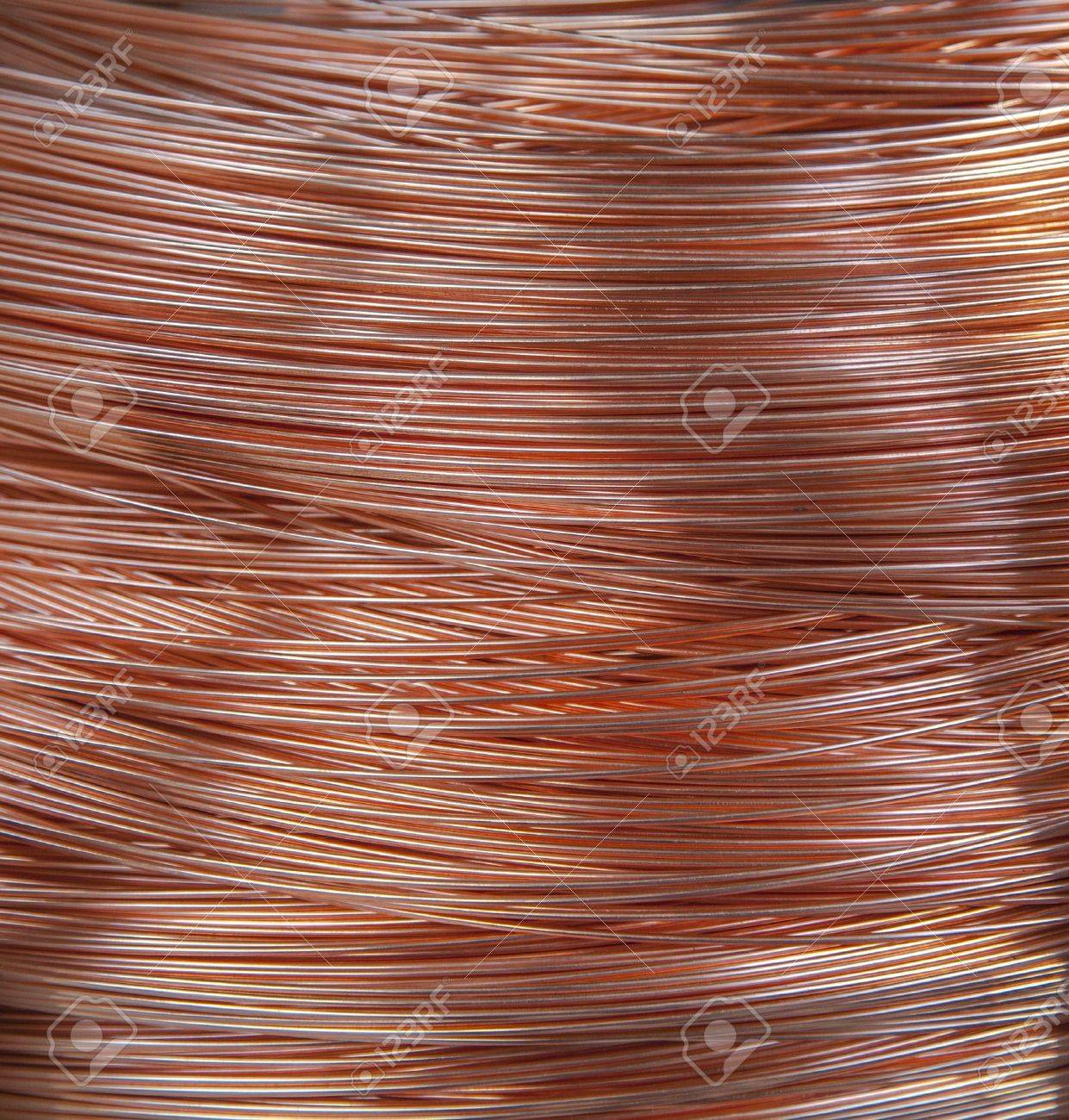 Copper Wire Spool In Factory Stock Photo, Picture And Royalty Free ...