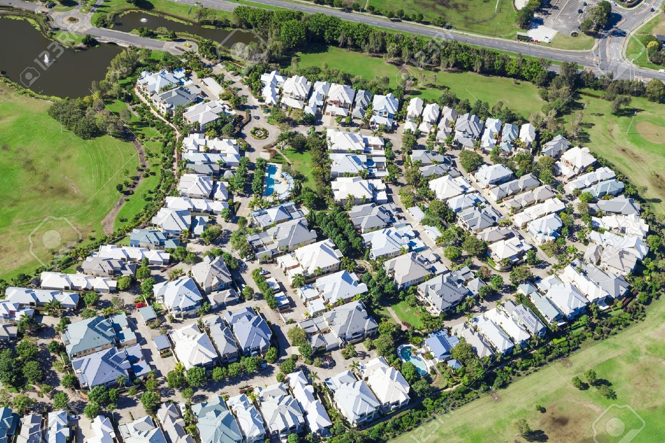 Aerial view of luxury australian neighborhood Stock Photo - 21862903