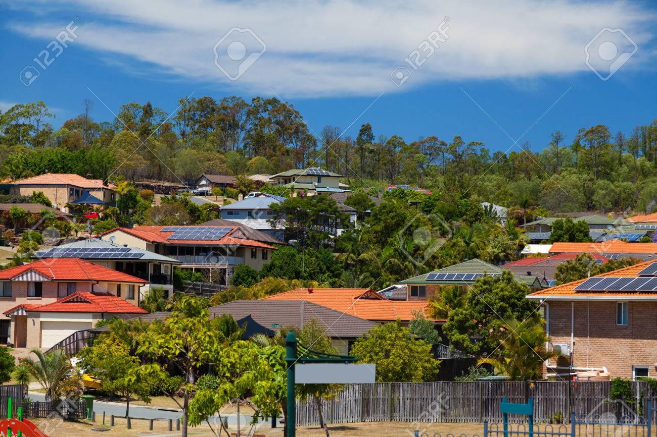 Solar panels on homes in Australian suburb Standard-Bild - 35368789