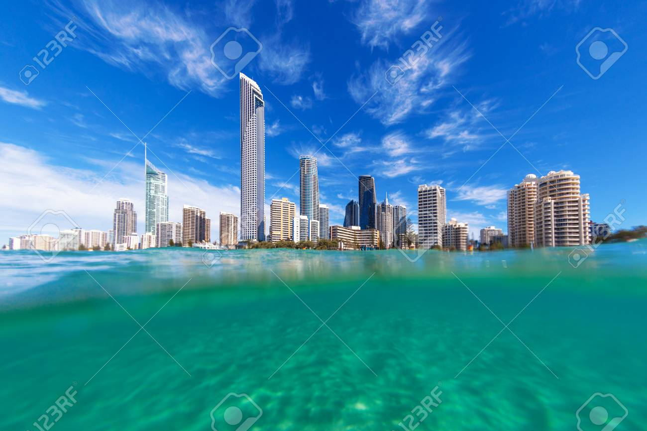 View from the water of Surfers Paradise on the Gold Coast, Australia - 87559924