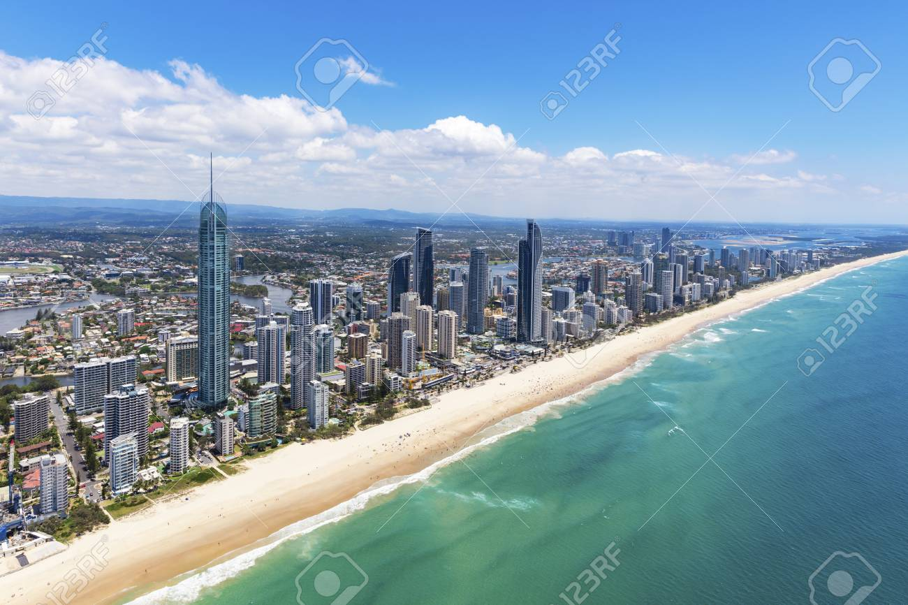 Sunny aerial view of Surfers Paradise looking inland on the Gold Coast, Queensland, Australia - 95012886