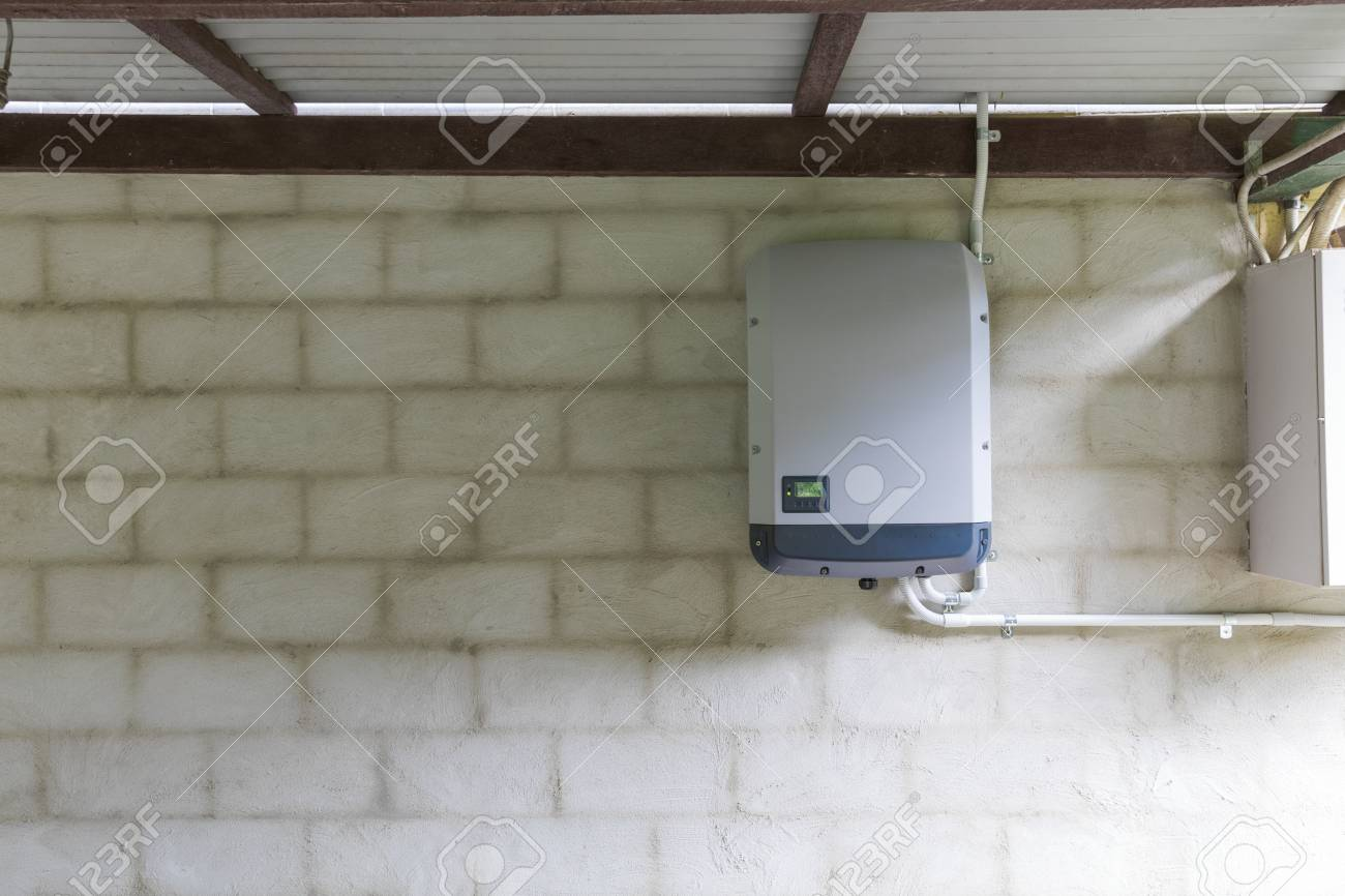 Solar Power Inverter Mounted On Brick Wall Inside Garage Domestic Systerm System Stock Photo 101786707