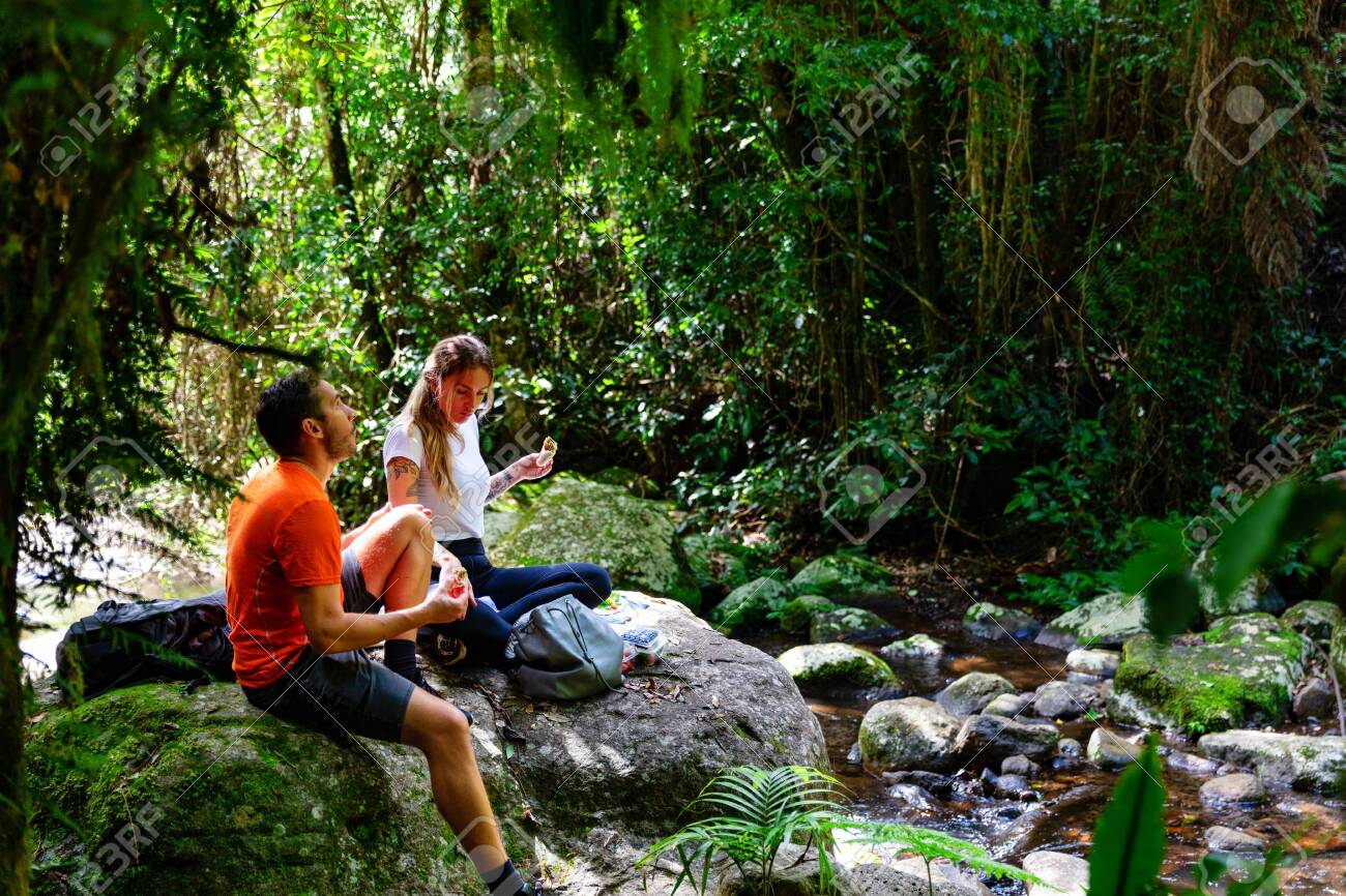 Couple enjoying lunch in lush Australian rainforest, QLD - 140109132